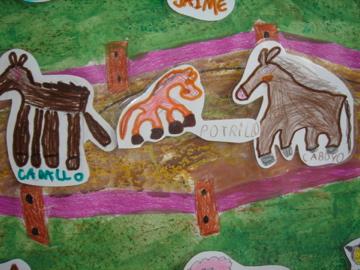 Mural de la visita a la Granja. Infantil 5 años. Colegio Mediterráneo, Alicante.